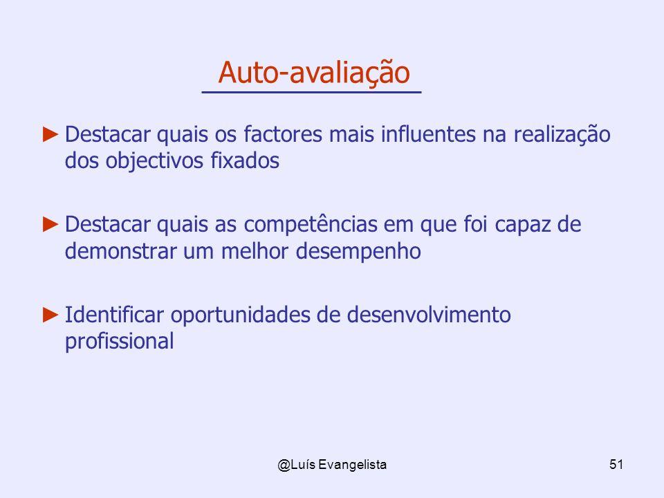 @Luís Evangelista51 Destacar quais os factores mais influentes na realização dos objectivos fixados Destacar quais as competências em que foi capaz de demonstrar um melhor desempenho Identificar oportunidades de desenvolvimento profissional Auto-avaliação