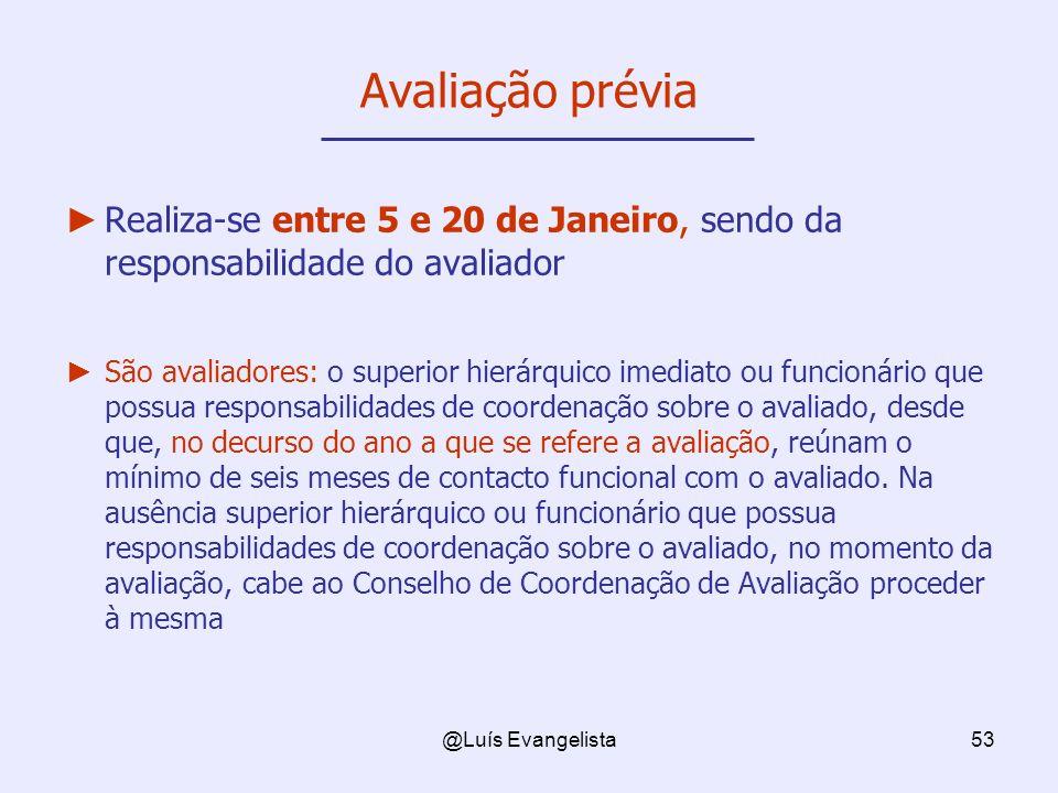@Luís Evangelista53 Avaliação prévia Realiza-se entre 5 e 20 de Janeiro, sendo da responsabilidade do avaliador São avaliadores: o superior hierárquic