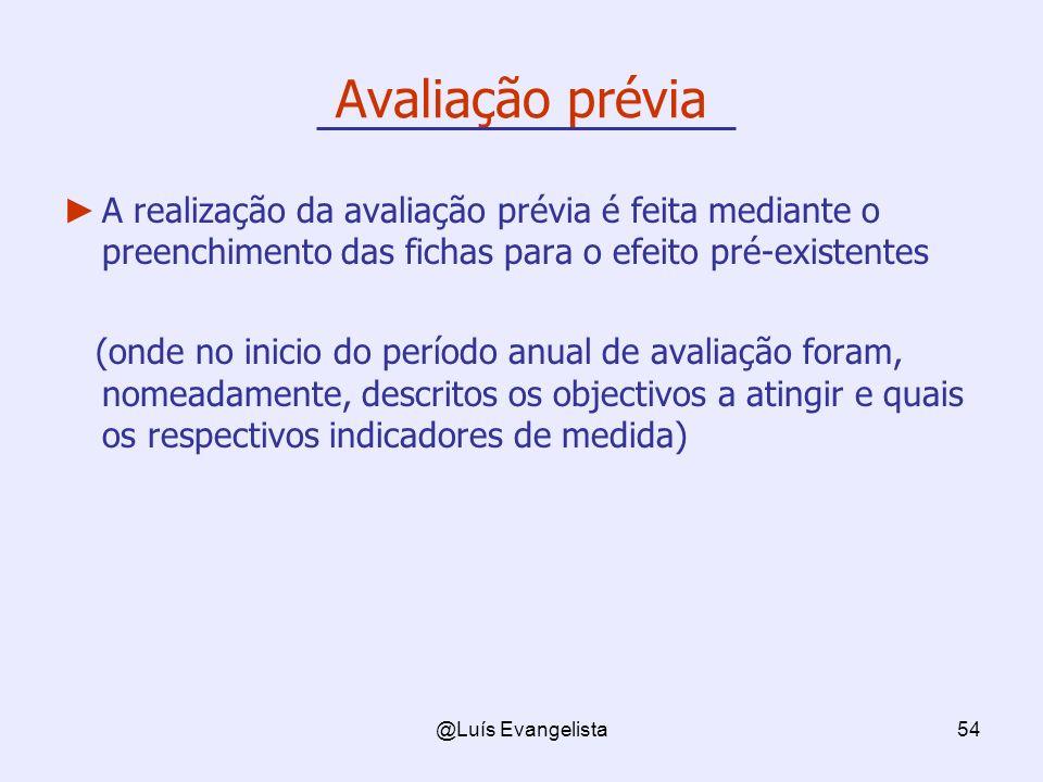 @Luís Evangelista54 Avaliação prévia A realização da avaliação prévia é feita mediante o preenchimento das fichas para o efeito pré-existentes (onde n