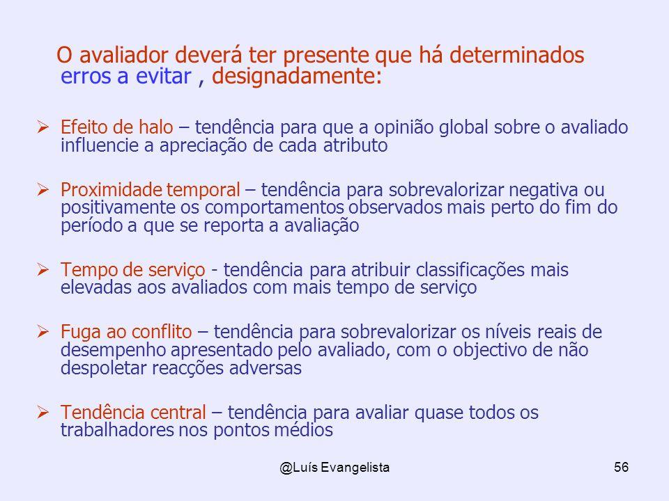 @Luís Evangelista56 O avaliador deverá ter presente que há determinados erros a evitar, designadamente: Efeito de halo – tendência para que a opinião
