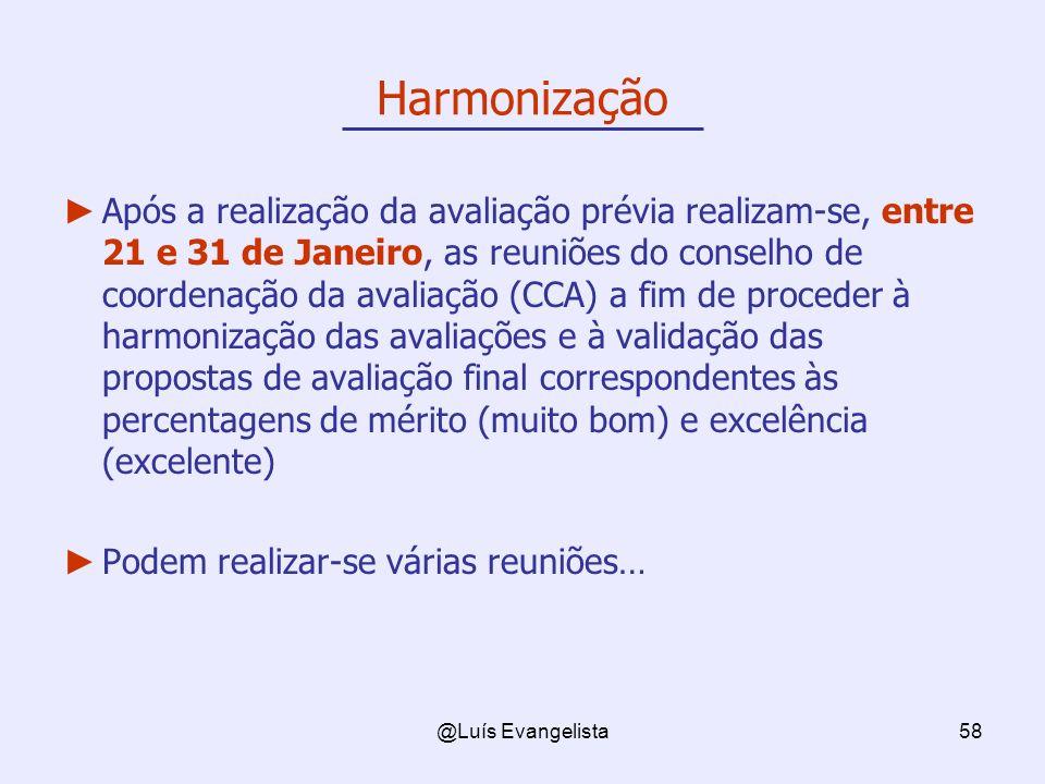 @Luís Evangelista58 Após a realização da avaliação prévia realizam-se, entre 21 e 31 de Janeiro, as reuniões do conselho de coordenação da avaliação (CCA) a fim de proceder à harmonização das avaliações e à validação das propostas de avaliação final correspondentes às percentagens de mérito (muito bom) e excelência (excelente) Podem realizar-se várias reuniões… Harmonização