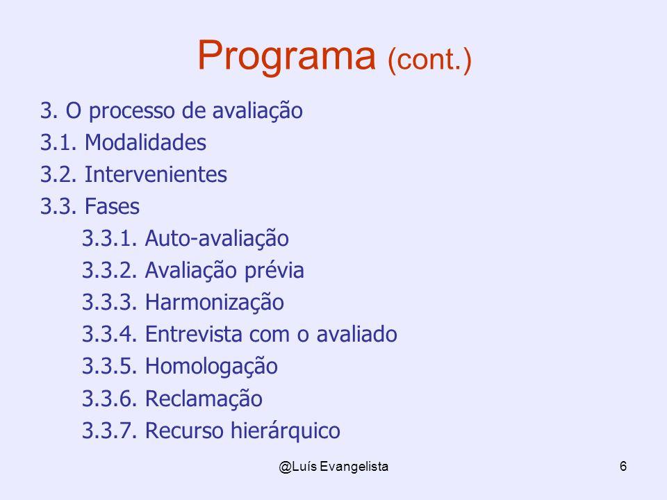 @Luís Evangelista6 Programa (cont.) 3. O processo de avaliação 3.1. Modalidades 3.2. Intervenientes 3.3. Fases 3.3.1. Auto-avaliação 3.3.2. Avaliação