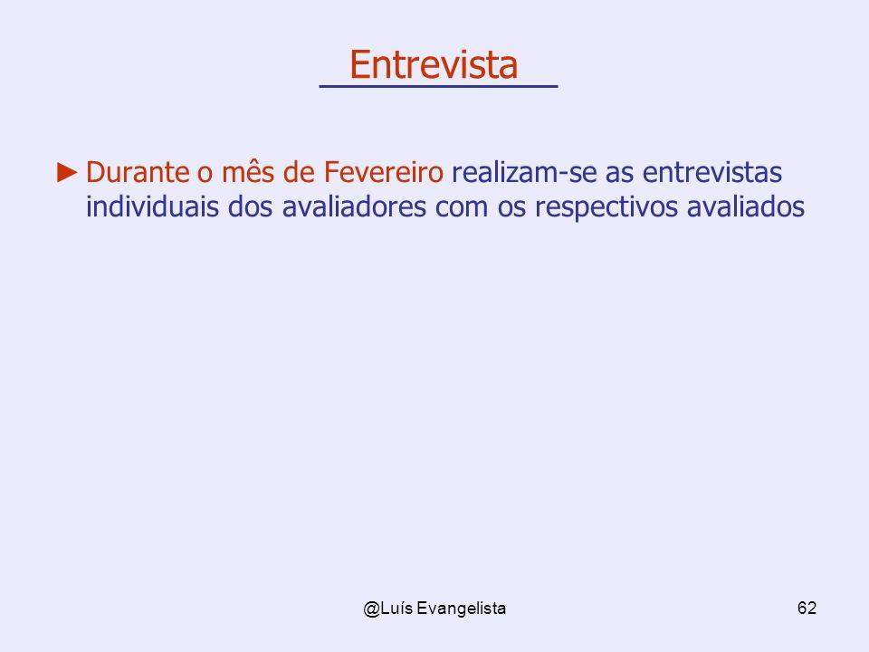@Luís Evangelista62 Entrevista Durante o mês de Fevereiro realizam-se as entrevistas individuais dos avaliadores com os respectivos avaliados