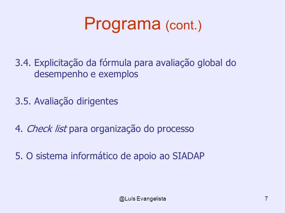 @Luís Evangelista7 Programa (cont.) 3.4. Explicitação da fórmula para avaliação global do desempenho e exemplos 3.5. Avaliação dirigentes 4. Check lis