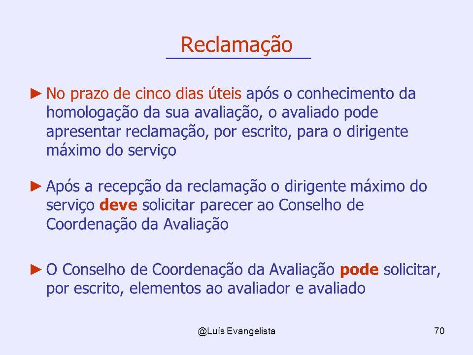 @Luís Evangelista70 Reclamação No prazo de cinco dias úteis após o conhecimento da homologação da sua avaliação, o avaliado pode apresentar reclamação