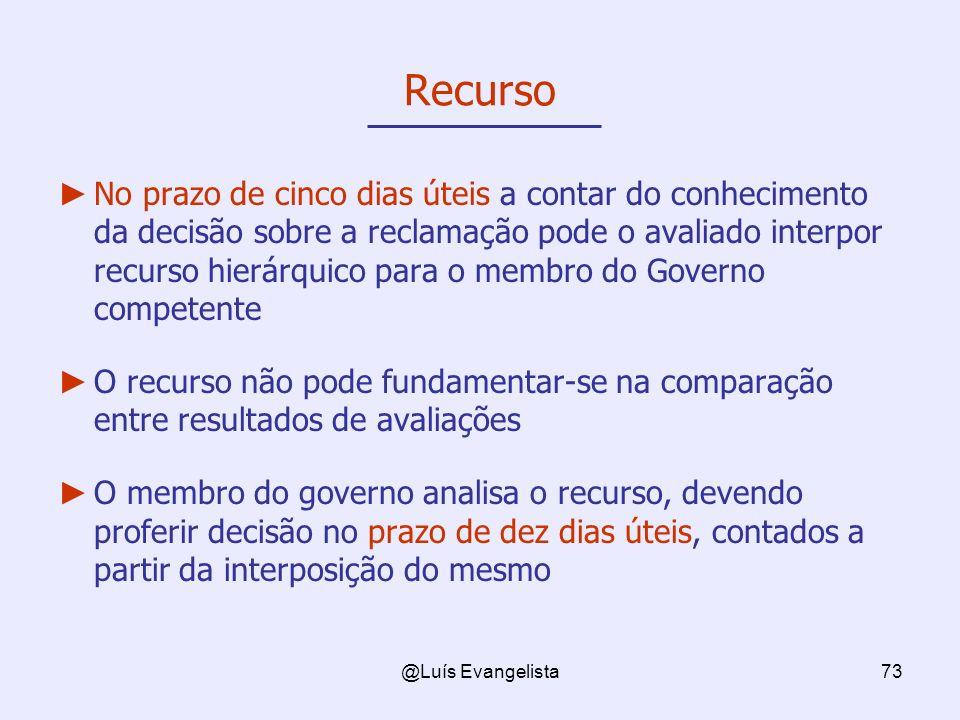 @Luís Evangelista73 Recurso No prazo de cinco dias úteis a contar do conhecimento da decisão sobre a reclamação pode o avaliado interpor recurso hierá