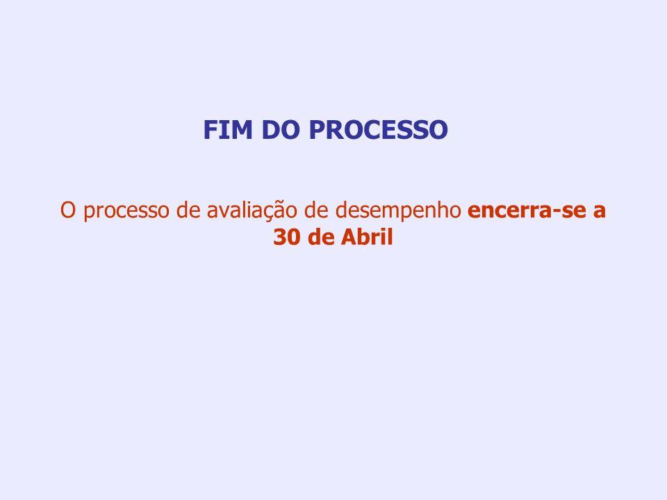 O processo de avaliação de desempenho encerra-se a 30 de Abril FIM DO PROCESSO