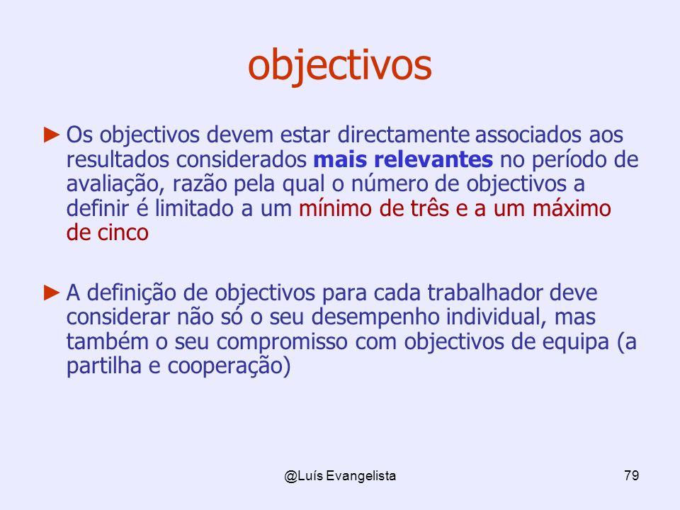 @Luís Evangelista79 objectivos Os objectivos devem estar directamente associados aos resultados considerados mais relevantes no período de avaliação,