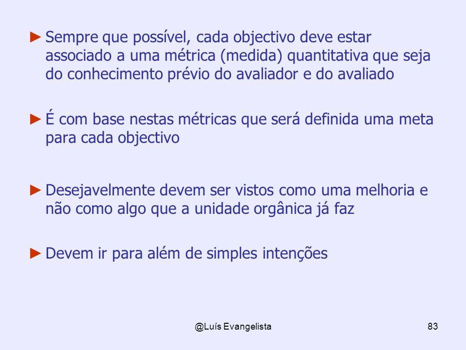 @Luís Evangelista83 Sempre que possível, cada objectivo deve estar associado a uma métrica (medida) quantitativa que seja do conhecimento prévio do av