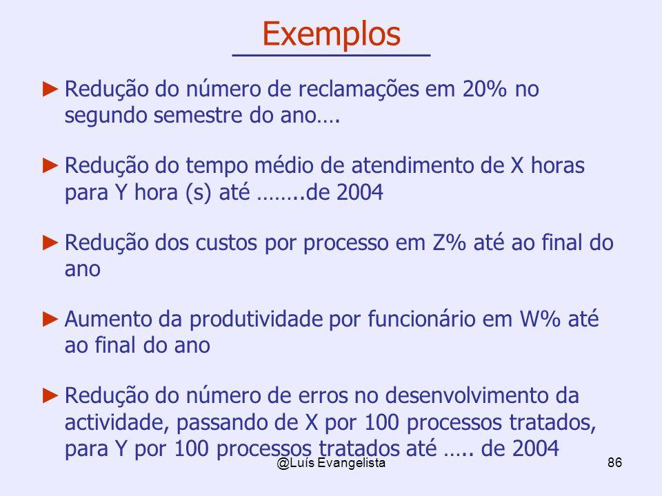 @Luís Evangelista86 Exemplos Redução do número de reclamações em 20% no segundo semestre do ano…. Redução do tempo médio de atendimento de X horas par