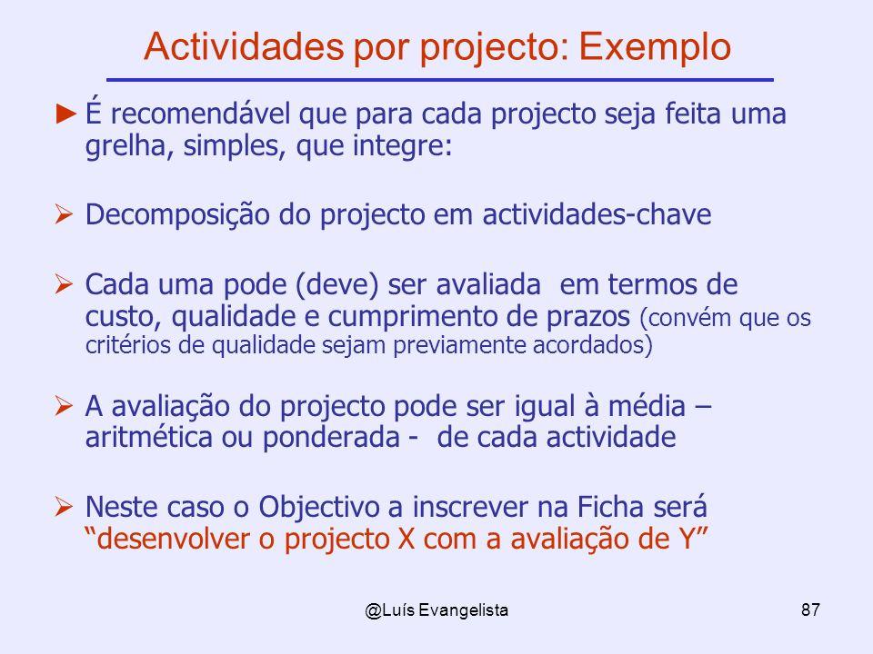 @Luís Evangelista87 Actividades por projecto: Exemplo É recomendável que para cada projecto seja feita uma grelha, simples, que integre: Decomposição