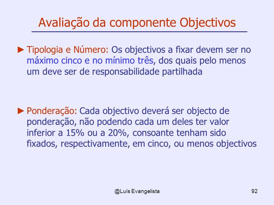 @Luís Evangelista92 Avaliação da componente Objectivos Tipologia e Número: Os objectivos a fixar devem ser no máximo cinco e no mínimo três, dos quais