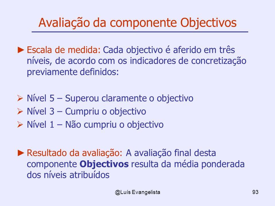 @Luís Evangelista93 Avaliação da componente Objectivos Escala de medida: Cada objectivo é aferido em três níveis, de acordo com os indicadores de conc