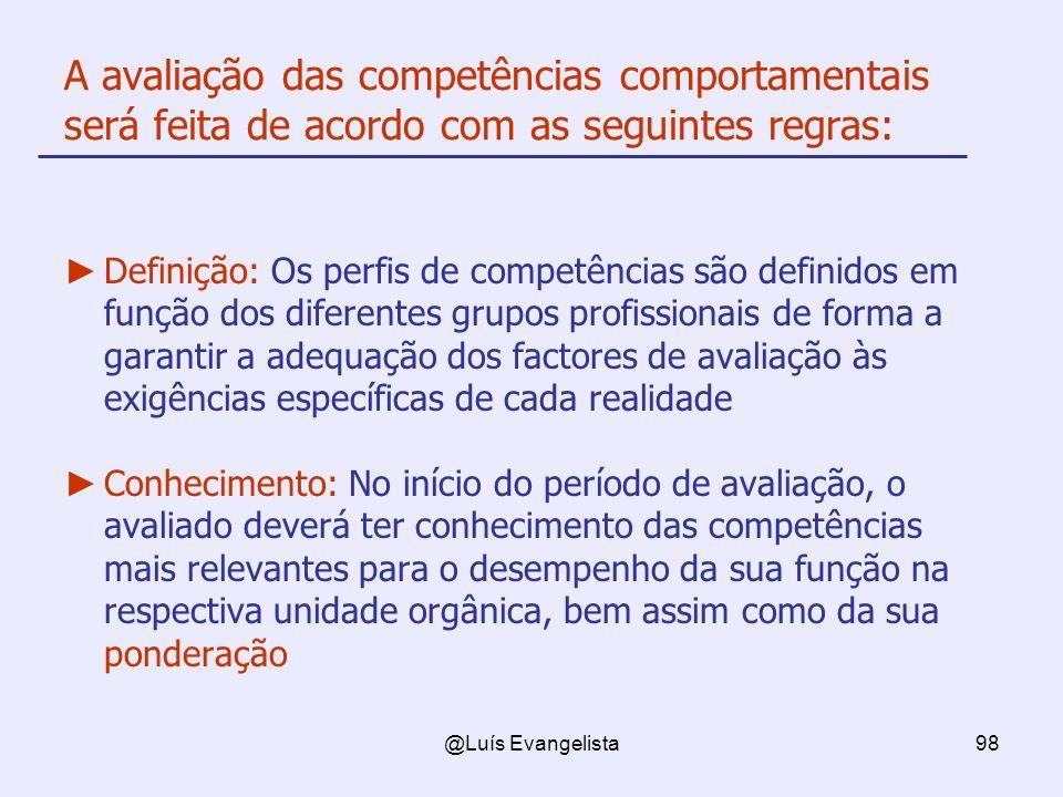 @Luís Evangelista98 A avaliação das competências comportamentais será feita de acordo com as seguintes regras: Definição: Os perfis de competências sã
