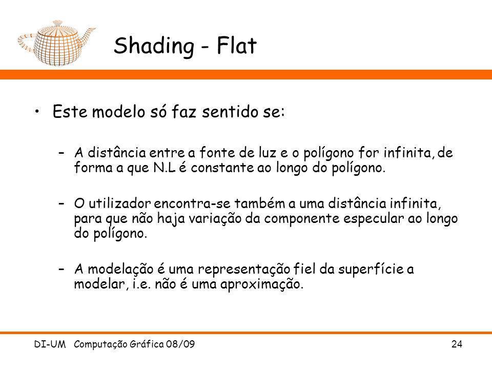 DI-UM Computação Gráfica 08/09 24 Shading - Flat Este modelo só faz sentido se: –A distância entre a fonte de luz e o polígono for infinita, de forma