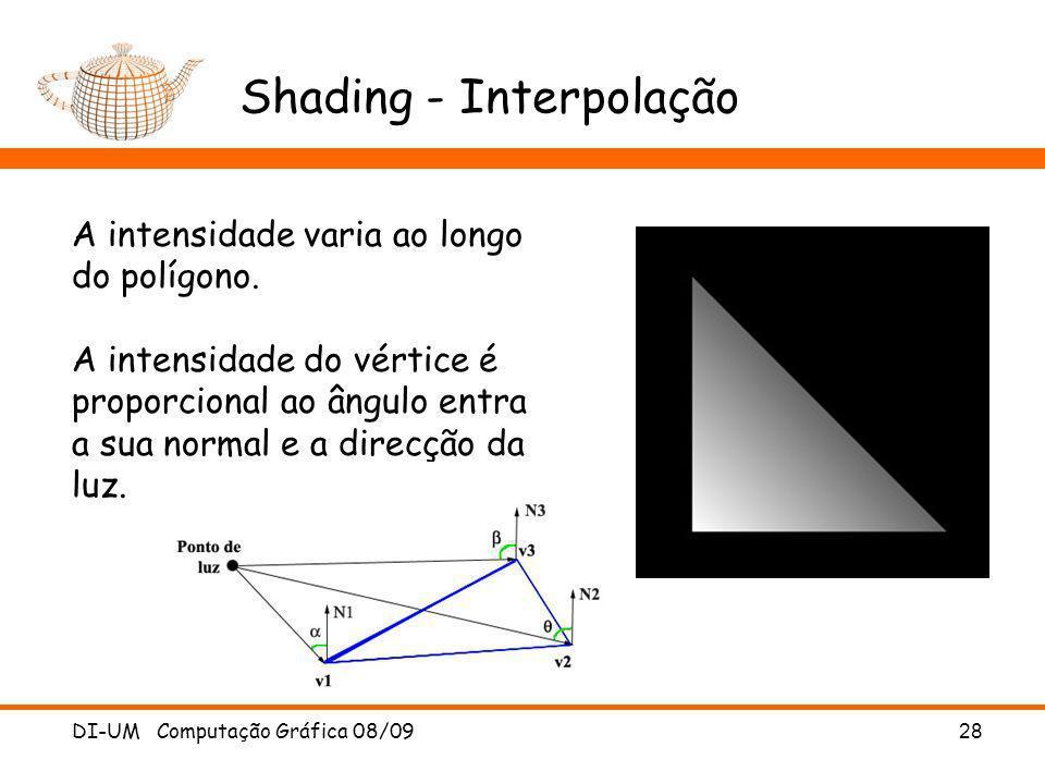 DI-UM Computação Gráfica 08/09 28 Shading - Interpolação A intensidade varia ao longo do polígono. A intensidade do vértice é proporcional ao ângulo e