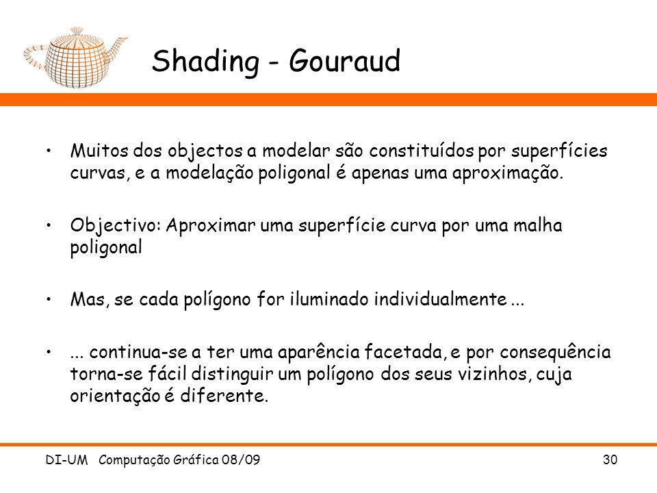 DI-UM Computação Gráfica 08/09 30 Shading - Gouraud Muitos dos objectos a modelar são constituídos por superfícies curvas, e a modelação poligonal é a