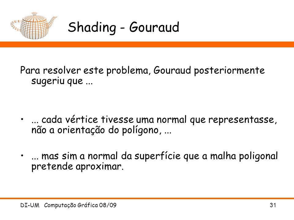 DI-UM Computação Gráfica 08/09 31 Shading - Gouraud Para resolver este problema, Gouraud posteriormente sugeriu que...... cada vértice tivesse uma nor