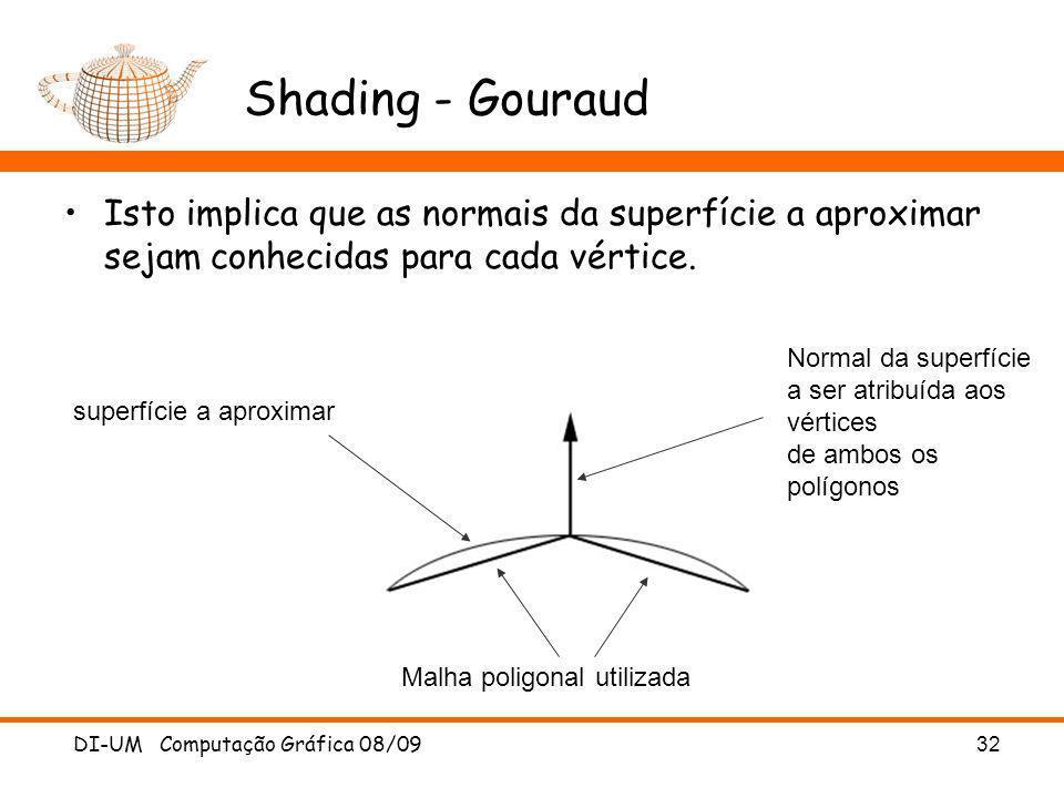 DI-UM Computação Gráfica 08/09 32 Shading - Gouraud Isto implica que as normais da superfície a aproximar sejam conhecidas para cada vértice. superfíc