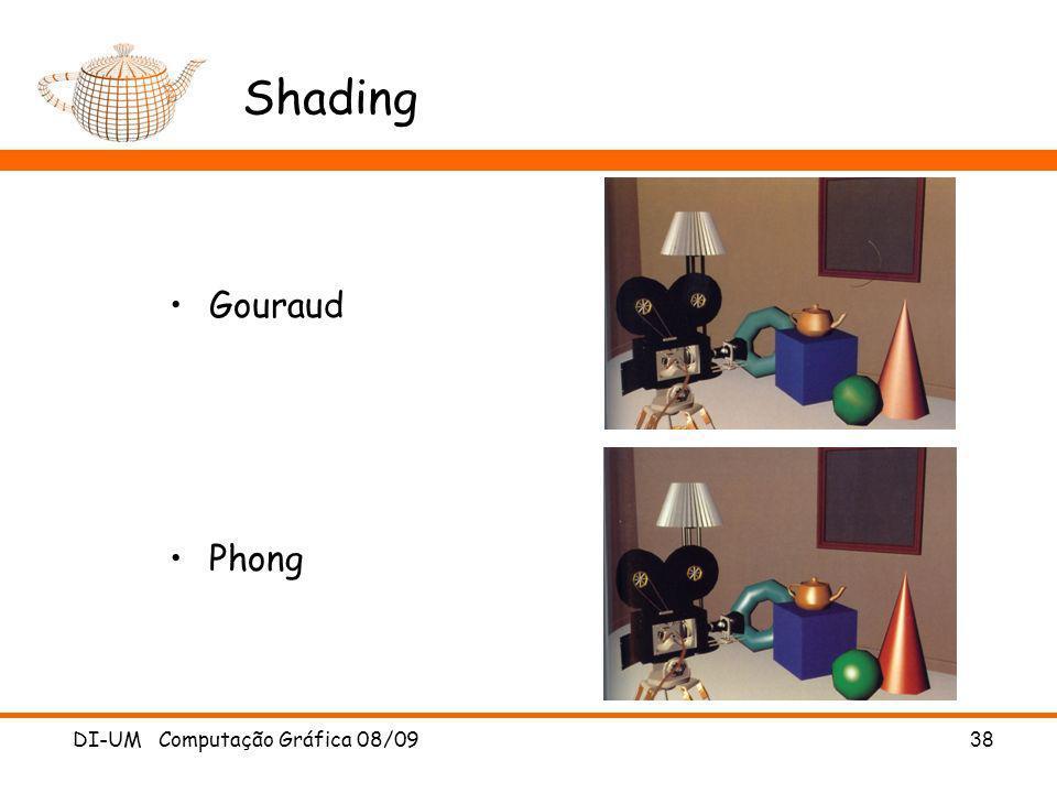 DI-UM Computação Gráfica 08/09 38 Shading Gouraud Phong