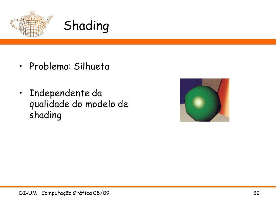 DI-UM Computação Gráfica 08/09 39 Shading Problema: Silhueta Independente da qualidade do modelo de shading