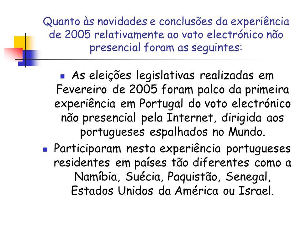 Quanto às novidades e conclusões da experiência de 2005 relativamente ao voto electrónico não presencial foram as seguintes: As eleições legislativas
