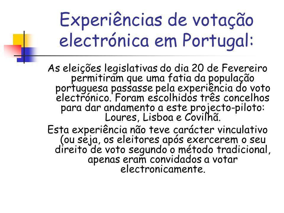 Experiências de votação electrónica em Portugal: As eleições legislativas do dia 20 de Fevereiro permitiram que uma fatia da população portuguesa pass