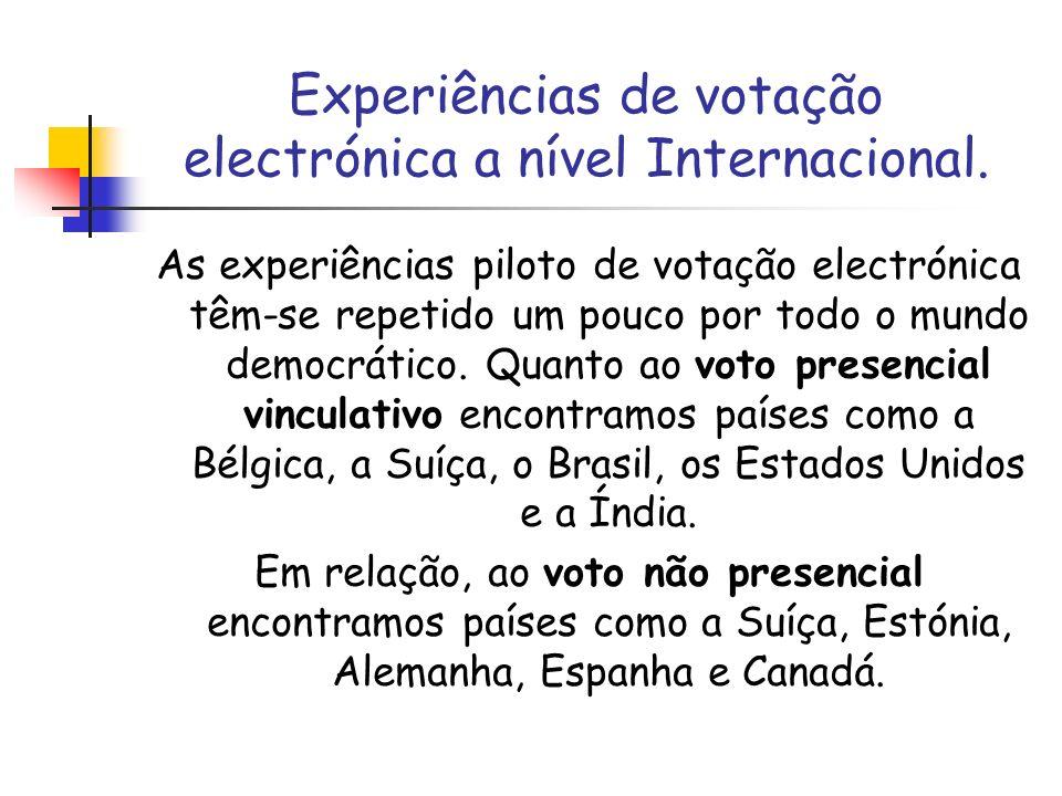 Experiências de votação electrónica a nível Internacional. As experiências piloto de votação electrónica têm-se repetido um pouco por todo o mundo dem