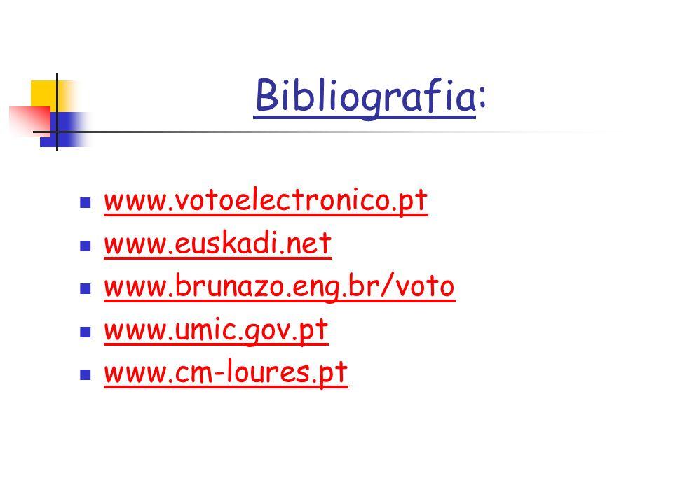 Bibliografia: www.votoelectronico.pt www.euskadi.net www.brunazo.eng.br/voto www.umic.gov.pt www.cm-loures.pt