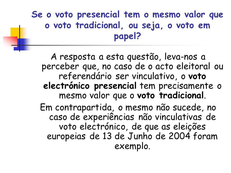 Se o voto presencial tem o mesmo valor que o voto tradicional, ou seja, o voto em papel? A resposta a esta questão, leva-nos a perceber que, no caso d