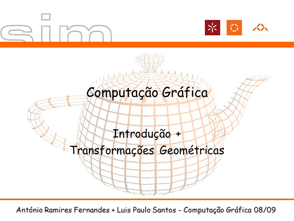 DI-UM Computação Gráfica 08/0942 Transformações Geométricas Modelar um boneco de neve com esferas e um cone void drawSnowMan() { glColor3f(1.0f, 1.0f, 1.0f); // Draw Body glTranslatef(0.0f,0.75f, 0.0f); glutSolidSphere(0.75f,20,20); // Draw Head glTranslatef(0.0f, 1.0f, 0.0f); glutSolidSphere(0.25f,20,20); // Draw Eyes glPushMatrix(); glColor3f(0.0f,0.0f,0.0f); glTranslatef(0.05f, 0.10f, 0.18f); glutSolidSphere(0.05f,10,10); glTranslatef(-0.1f, 0.0f, 0.0f); glutSolidSphere(0.05f,10,10); glPopMatrix(); // Draw Nose glColor3f(1.0f, 0.5f, 0.5f); glRotatef(90.0f,1.0f, 0.0f, 0.0f); glutSolidCone(0.08f,0.5f,10,2); }
