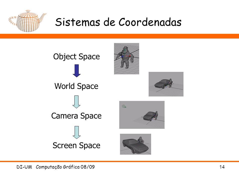 DI-UM Computação Gráfica 08/0914 Sistemas de Coordenadas Object Space World Space Screen Space Camera Space