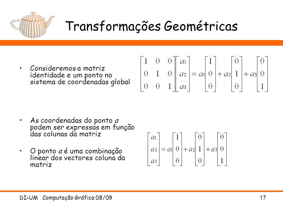 DI-UM Computação Gráfica 08/0917 Transformações Geométricas Consideremos a matriz identidade e um ponto no sistema de coordenadas global As coordenada