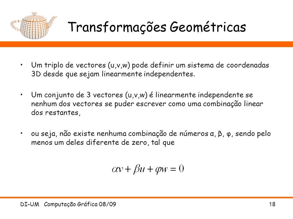 DI-UM Computação Gráfica 08/0918 Transformações Geométricas Um triplo de vectores (u,v,w) pode definir um sistema de coordenadas 3D desde que sejam li