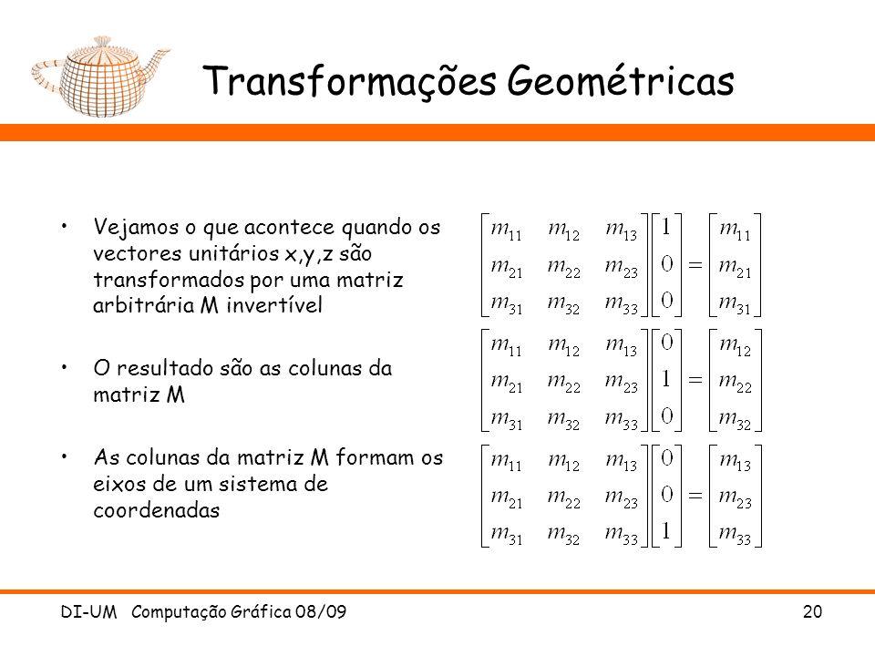 DI-UM Computação Gráfica 08/0920 Transformações Geométricas Vejamos o que acontece quando os vectores unitários x,y,z são transformados por uma matriz