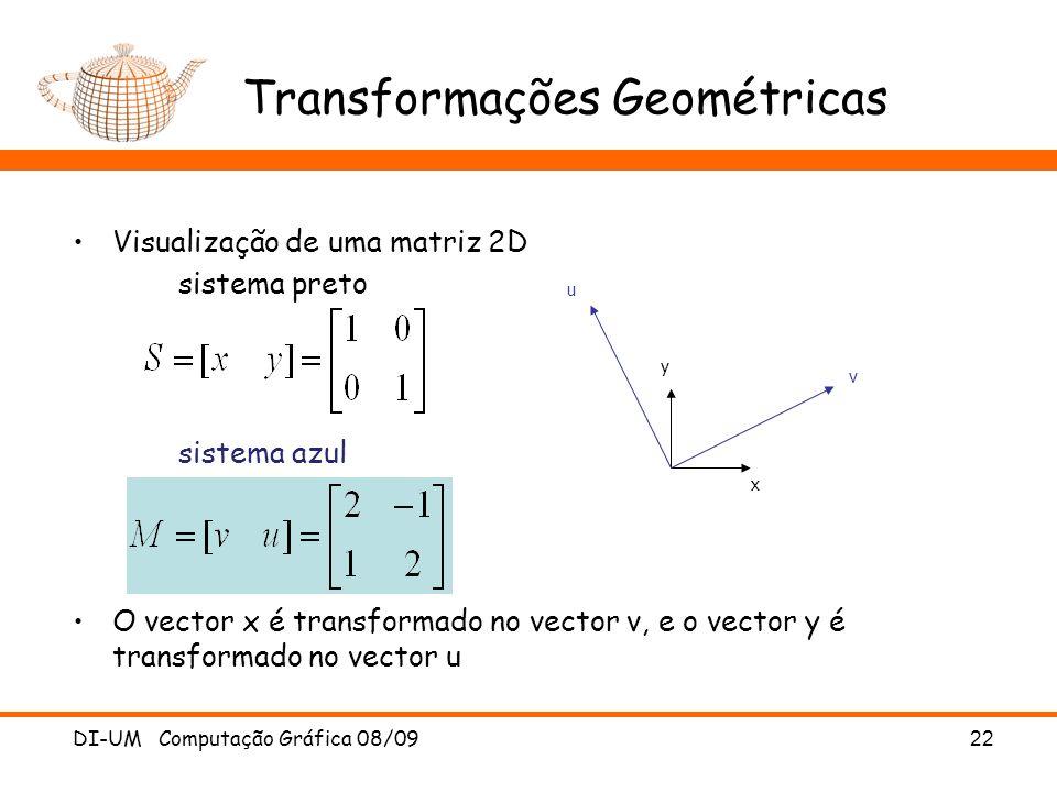DI-UM Computação Gráfica 08/0922 Transformações Geométricas Visualização de uma matriz 2D sistema preto sistema azul O vector x é transformado no vect