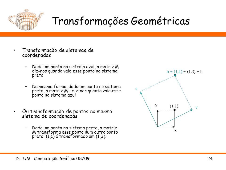 DI-UM Computação Gráfica 08/0924 Transformações Geométricas Transformação de sistemas de coordenadas –Dado um ponto no sistema azul, a matriz M diz-no