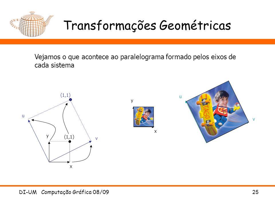 DI-UM Computação Gráfica 08/0925 Transformações Geométricas x y u v (1,1) x y u v Vejamos o que acontece ao paralelograma formado pelos eixos de cada