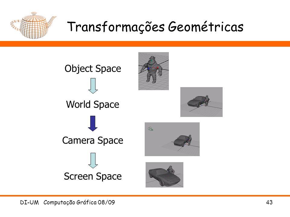 DI-UM Computação Gráfica 08/0943 Transformações Geométricas Object Space World Space Camera Space Screen Space