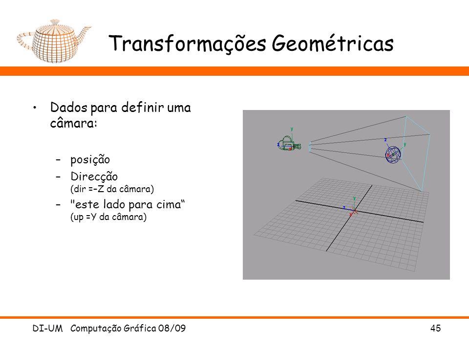 DI-UM Computação Gráfica 08/0945 Transformações Geométricas Dados para definir uma câmara: –posição –Direcção (dir =–Z da câmara) –