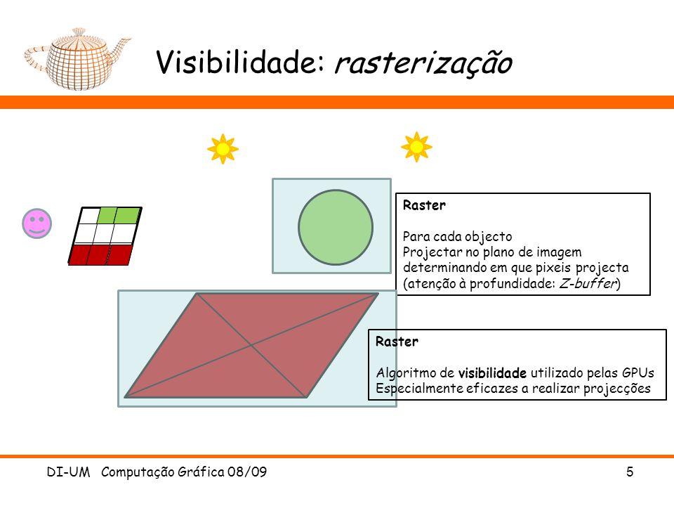 Visibilidade: rasterização DI-UM Computação Gráfica 08/095 Raster Para cada objecto Projectar no plano de imagem determinando em que pixeis projecta (