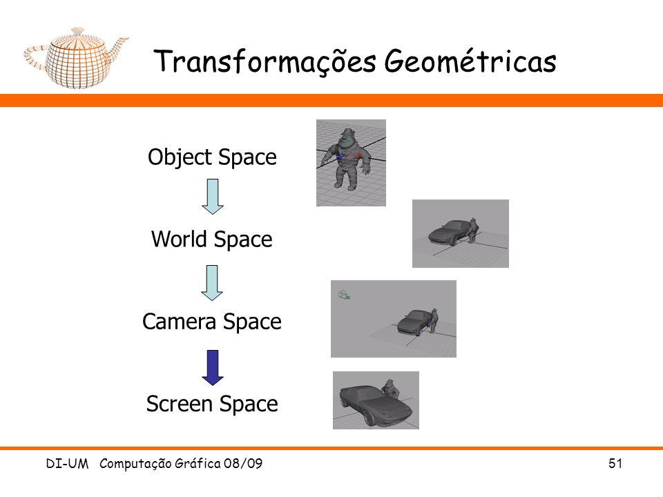 DI-UM Computação Gráfica 08/0951 Transformações Geométricas Object Space World Space Camera Space Screen Space