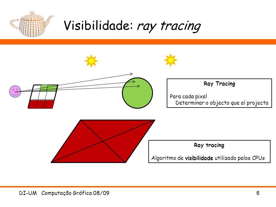 Visibilidade: ray tracing DI-UM Computação Gráfica 08/096 Ray Tracing Para cada pixel Determinar o objecto que aí projecta Ray tracing Algoritmo de vi
