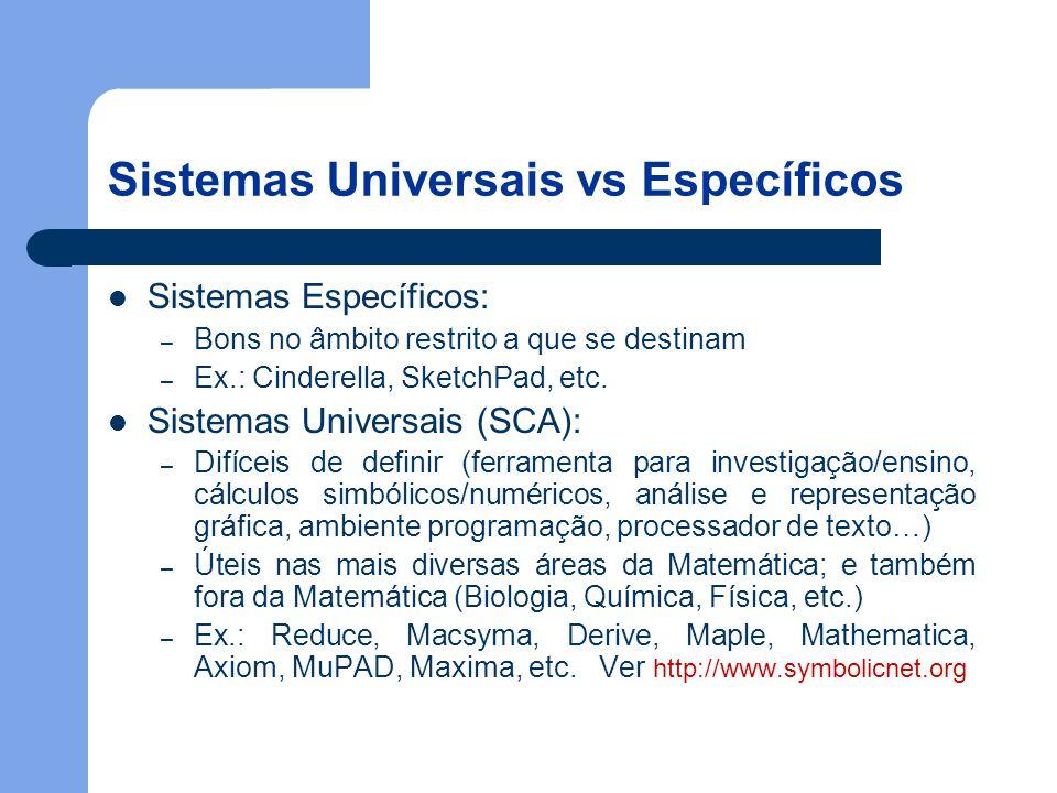 Sistemas Universais vs Específicos Sistemas Específicos: – Bons no âmbito restrito a que se destinam – Ex.: Cinderella, SketchPad, etc.
