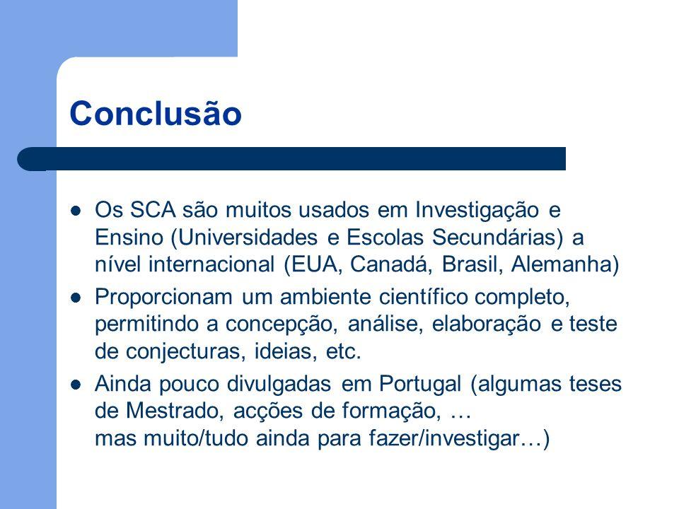 Conclusão Os SCA são muitos usados em Investigação e Ensino (Universidades e Escolas Secundárias) a nível internacional (EUA, Canadá, Brasil, Alemanha) Proporcionam um ambiente científico completo, permitindo a concepção, análise, elaboração e teste de conjecturas, ideias, etc.