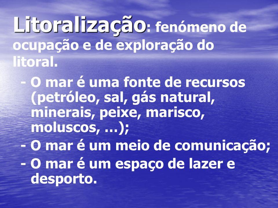 Litoralização : fenómeno de ocupação e de exploração do litoral. - O mar é uma fonte de recursos (petróleo, sal, gás natural, minerais, peixe, marisco