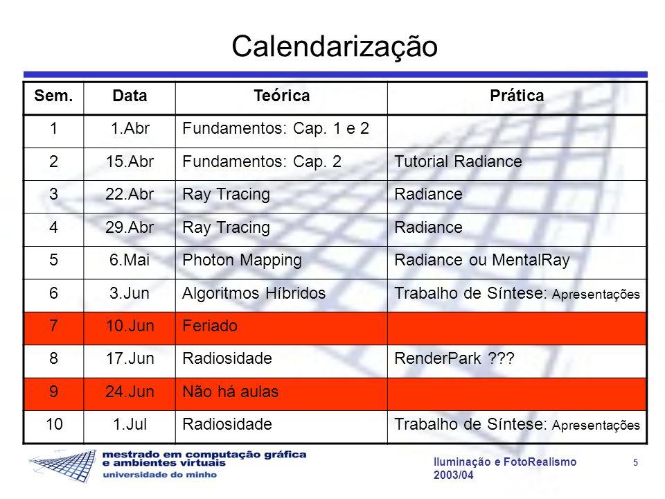 Iluminação e FotoRealismo 5 2003/04 Calendarização Sem.DataTeóricaPrática 11.AbrFundamentos: Cap.