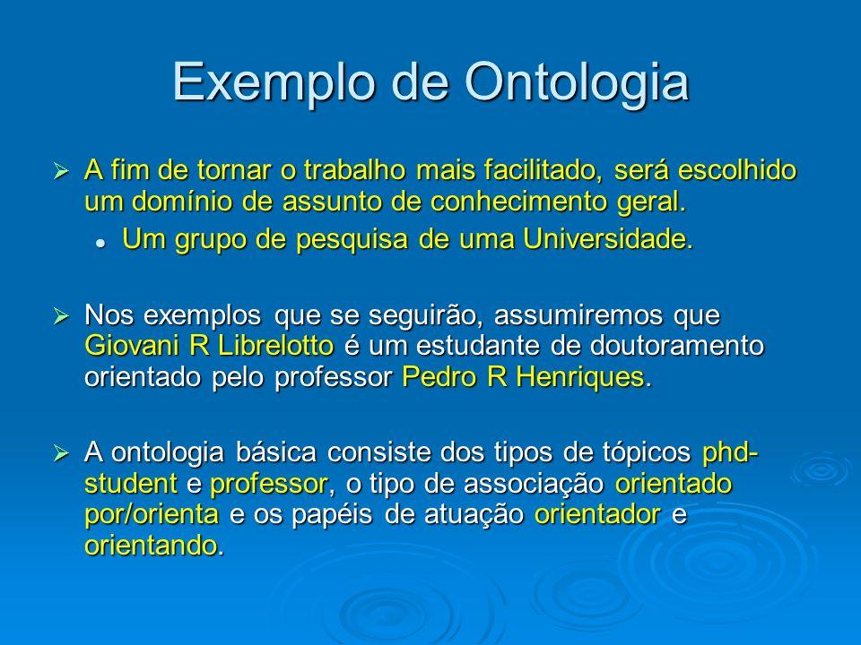 Exemplo de Ontologia A fim de tornar o trabalho mais facilitado, será escolhido um domínio de assunto de conhecimento geral. A fim de tornar o trabalh