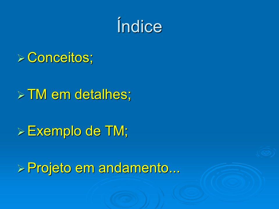 Índice Conceitos; Conceitos; TM em detalhes; TM em detalhes; Exemplo de TM; Exemplo de TM; Projeto em andamento... Projeto em andamento...
