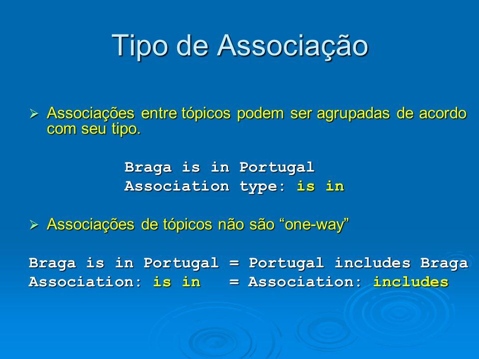 Tipo de Associação Associações entre tópicos podem ser agrupadas de acordo com seu tipo. Associações entre tópicos podem ser agrupadas de acordo com s
